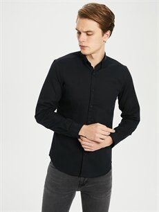 Siyah Ekstra Slim Fit Armürlü Gömlek 0S2481Z8 LC Waikiki
