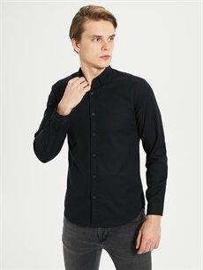 %97 Pamuk %3 Elastan Düz En Dar Gömlek Düğmeli Uzun Kol Ekstra Slim Fit Armürlü Gömlek