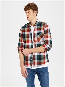 %100 Pamuk Uzun Kol Ekoseli En Dar Gömlek Düğmeli Ekstra Slim Fit Ekose Gömlek