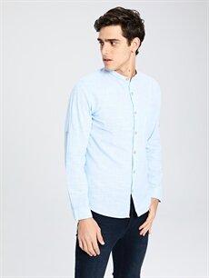%100 Pamuk Uzun Kol Düz En Dar Gömlek Düğmeli Ekstra Slim Fit Uzun Kollu Poplin Gömlek
