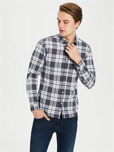 %100 Pamuk Ekoseli En Dar Gömlek Düğmesiz Uzun Kol Ekstra Slim Fit Poplin Gömlek