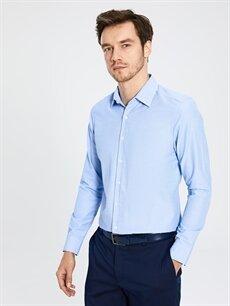 %51 Pamuk %49 Polyester Dar Düz Uzun Kol Gömlek Düğmesiz Slim Fit Uzun Kollu Gömlek