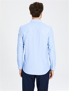 %51 Pamuk %49 Polyester Slim Fit Uzun Kollu Gömlek