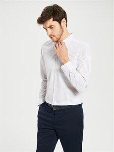 %60 Pamuk %40 Polyester Normal Çizgili Uzun Kol Gömlek Düğmeli Regular Fit Uzun Kollu Poplin Gömlek