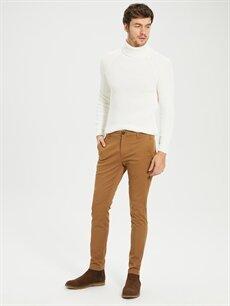 %97 Pamuk %3 Elastan Normal Bel Dar Pilesiz Pantolon Normal Bel Dar Pilesiz Chino Pantolon