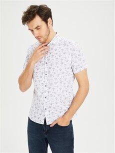 Beyaz Slim Fit Desenli Kısa Kollu Gömlek 0S5181Z8 LC Waikiki