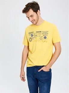 Sarı Bisiklet Yaka Baskılı Penye Tişört 0S5414Z8 LC Waikiki
