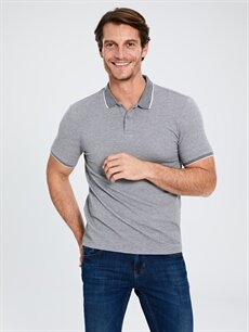 %78 Pamuk %19 Polyester %3 Elastan Dar Polo Düz Kısa Kol Tişört Polo Yaka Dokulu Tişört