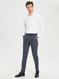 %73 Polyester %26 Viskoz %1 Elastan Normal Bel Dar Pileli Pantolon Dar Kalıp Takım Elbise Pantolonu