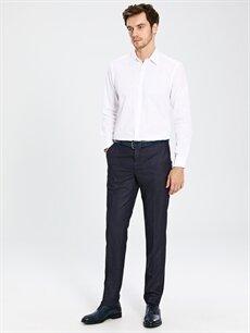 %62 Polyester %38 Viskoz Dar Pileli Pantolon Normal Bel Slim Fit Armürlü Takım Elbise Pantolonu