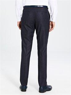 %62 Polyester %38 Viskoz Slim Fit Armürlü Takım Elbise Pantolonu