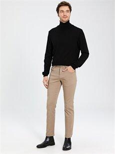 %98 Pamuk %2 Elastan Normal Bel Normal Pilesiz Pantolon Regular Fit Gabardin Gömlek