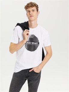 Beyaz Bisiklet Yaka Baskılı Penye Tişört 0SL610Z8 LC Waikiki