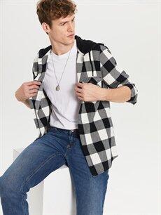 %100 Pamuk Ekoseli Dar Uzun Kol Gömlek Düğmesiz Slim Fit Ekose Uzun Kollu Gabardin Gömlek