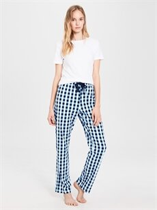 %100 Pamuk Standart Pijamalar Kare Desenli Pamuklu Pijama Altı
