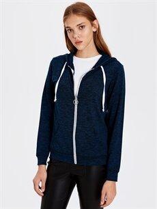 %97 Polyester %3 Elastan  Kapüşonlu Fermuarlı Sweatshirt