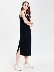 Kadın V Yaka Viskon Kolsuz Elbise