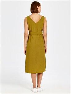 Kadın Düğme Detaylı Kuşaklı Viskon Elbise