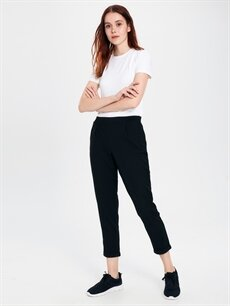 %64 Polyester %33 Viskon %3 Elastan Normal Bel Havuç Lastikli Bel Pantolon Beli Lastikli Bilek Boy Havuç Pantolon
