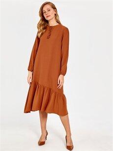 Kahverengi Püskül Detaylı Elbise 0SH434Z8 LC Waikiki