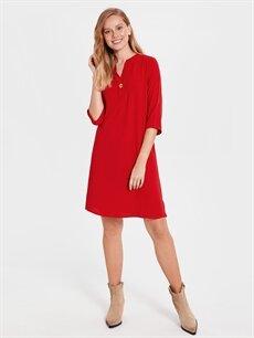 %100 Polyester Diz Üstü Düz Kısa Kol Düğme Detaylı Elbise