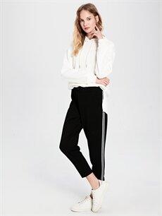 %94 Polyester %6 Elastan Normal Bel Havuç Lastikli Bel Pantolon Beli Lastikli Havuç Pantolon