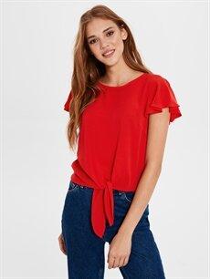 Kırmızı Beli Bağlama Detaylı Bluz 0SI207Z8 LC Waikiki