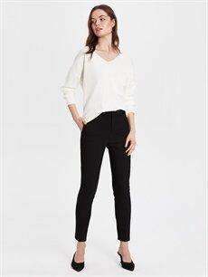 %54 Pamuk %42 Polyester %4 Elastan Yüksek Bel Esnek Standart Kumaş Pantolon Bilek Boy Slim Kumaş Pantolon