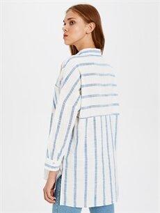 Kadın Çizgili Pamuklu Gömlek