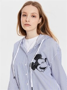 %52 Pamuk %48 Polyester  Mickey Mouse Baskılı Kapüşonlu Tunik