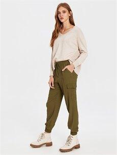 %100 Viskoz Normal Bel Kargo Esnek olmayan Lastikli Bel Pantolon Normal Bel Kargo Lastikli Bel Pantolon