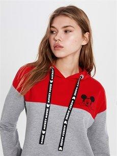 Kadın Mickey Mouse Baskılı Kapüşonlu Elbise
