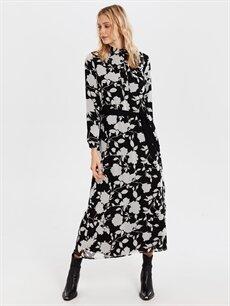 Siyah Kuşaklı Desenli Şifon ElbiseElbise 0SL481Z8 LC Waikiki