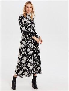 %100 Polyester %100 Polyester Uzun Desenli Uzun Kol Kuşaklı Desenli Şifon ElbiseElbise