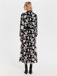 %100 Polyester Kuşaklı Desenli Şifon ElbiseElbise