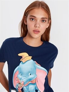 Kadın Dumbo Baskılı Pamuklu Tişört