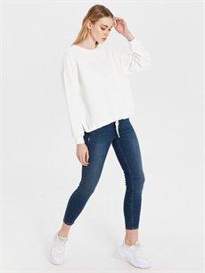 %66 Pamuk %29 Polyester %5 Elastan  Bağlama Detaylı Sweatshirt