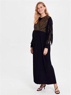 %90 Poliamid %4 Metalik iplik %6 Elastane Elbise Hamile Pul İşlemeli Elbise