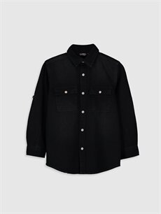 Siyah Düz Uzun Kollu Gömlek 0S1114Z4 LC Waikiki
