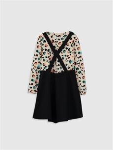 %91 Polyester %9 Elastan %100 Pamuk Diz Üstü Desenli Kız Çocuk Elbise ve Tişört