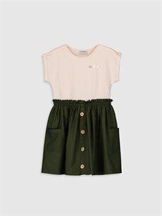 Yeşil Kız Çocuk Düğme Detaylı Pamuklu Elbise 0S1475Z4 LC Waikiki