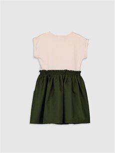 %95 Pamuk %5 Elastan Diz Üstü Düz Kız Çocuk Düğme Detaylı Pamuklu Elbise