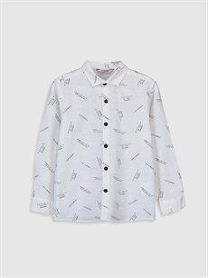 Siyah Erkek Çocuk Desenli Poplin Gömlek 0S1560Z4 LC Waikiki