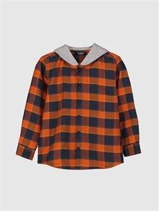 Turuncu Erkek Çocuk Kapüşonlu Twill Gömlek 0S1565Z4 LC Waikiki