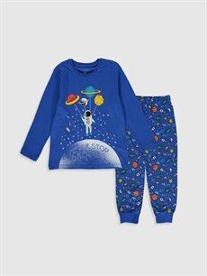 Mavi Erkek Çocuk Baskılı Pamuklu Pijama Takımı 0S2184Z4 LC Waikiki