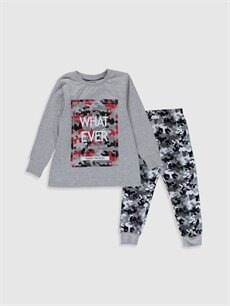 Gri Erkek Çocuk Kamuflaj Desenli Pamuklu Pijama Takımı 0S2185Z4 LC Waikiki