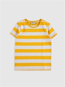 Sarı Kız Çocuk Çizgili Pamuklu Basic Tişört 0S2541Z4 LC Waikiki