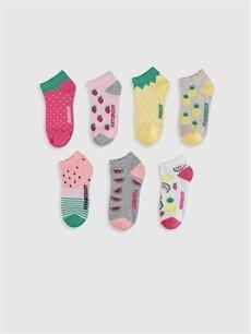 %62 Pamuk %36 Poliamid %2 Elastan  Kız Çocuk Patik Çorap 7'li