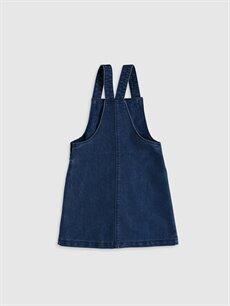 %66 Pamuk %34 Polyester Desenli Diz Üstü Kız Çocuk Jean Elbise