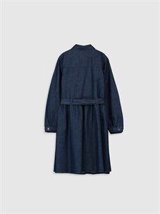 %100 Pamuk Diz Altı Düz Kız Çocuk Jean Elbise